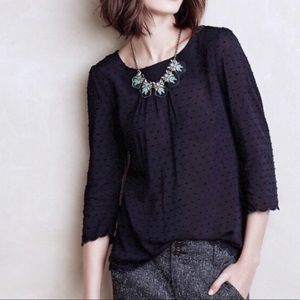 Anthropologie/Maeve Pia Clip Dot Scallop Top Size4